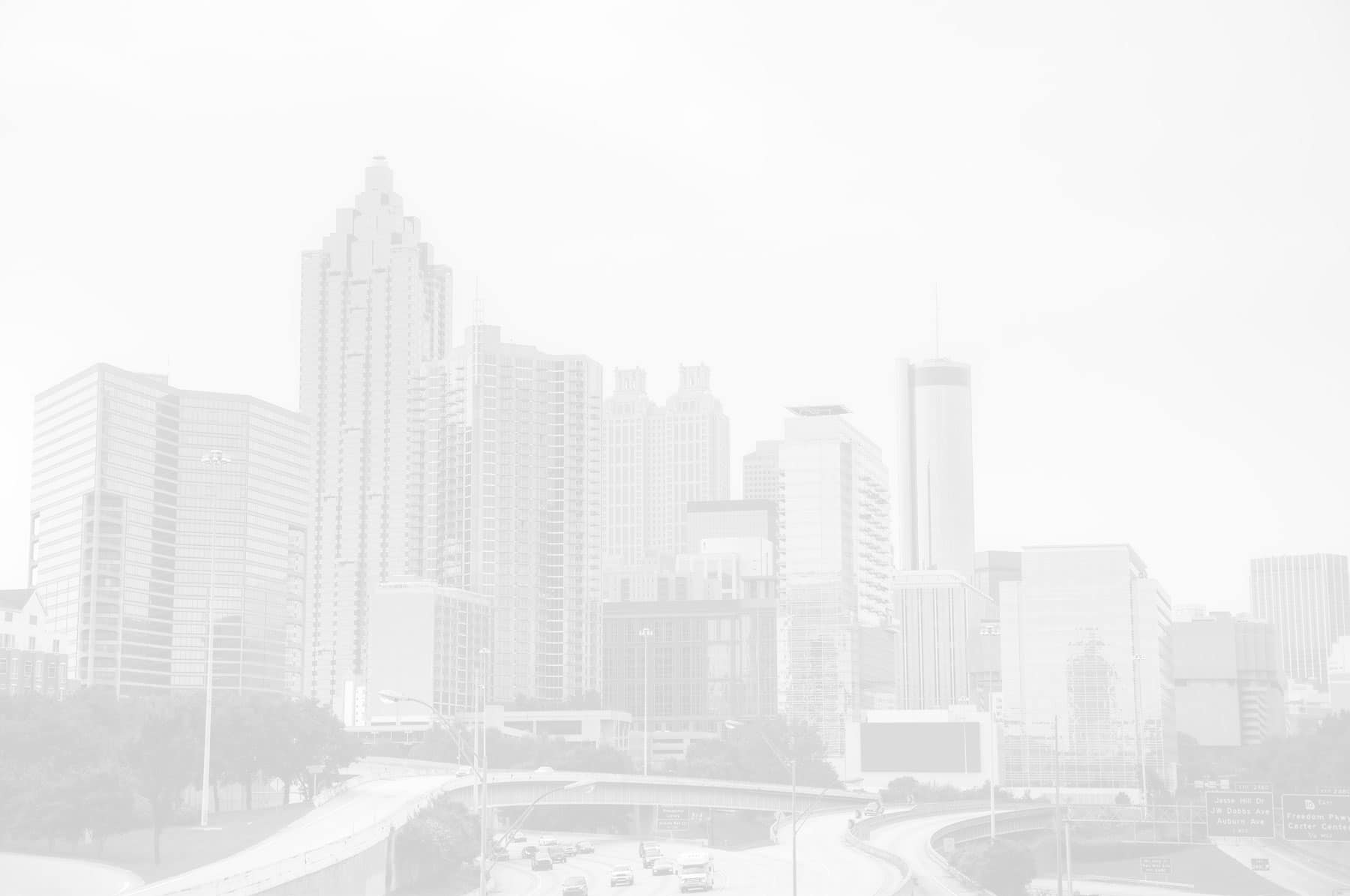 atlanta's skyline from the highway, white-washed