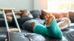 Car accident victim recuperates from their injury